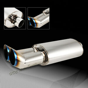3 Dtm Style Dual Burnt Tip Stainless Steel Weld On Exhaust Muffler 2 5 Inlet