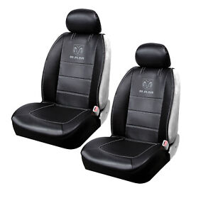 New Ram Elite Black Synthetic Leather 2 Front Sideless Seat Covers Car Truck
