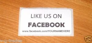 Lot Of 100 White Like Us On Facebook Custom Your Name Here Shipping Stickers 2x1