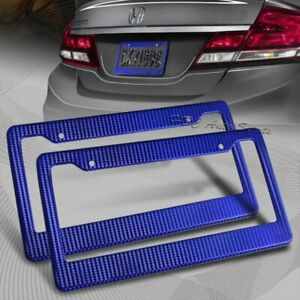 2 X Jdm Blue Carbon Fiber Look License Plate Frame Cover Front Rear Us Size