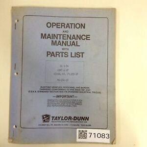 Taylor Dunn Manual Ms 534 03 Used 71083