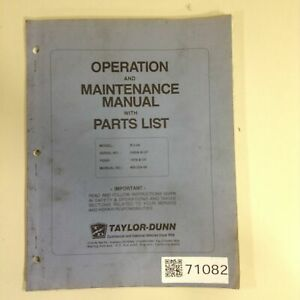 Taylor Dunn Operation And Maintenance Manual Mb 254 00 Used 71082