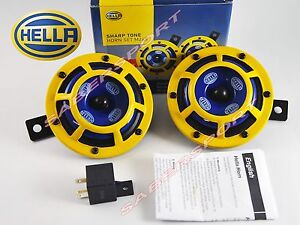 Pair Hella Sharptone Horn Kit 12v 415 350hz Kit yellow Grille P n H31000001