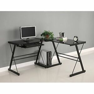 3 Piece Corner Office Computer Desk L shape Polished Black Glass Sturdy Cpu New