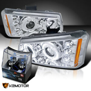 Fit 2003 2007 Chevy Silverado Clear Halo Projector Headlights H3 Halogen Bulbs