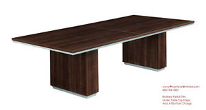 Modern 8 Foot Conference Table Grommets Wire Management Walnut Or Espresso