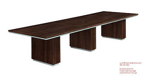 Modern 12 Foot Conference Table Grommets Walnut Or Espresso Silver Trim On Edge