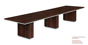 Modern 14 Foot Conference Table Grommets Walnut Or Espresso Silver Trim Edge