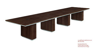 Modern 16 Foot Conference Table In Walnut Or Espresso Silver Trim And Grommets