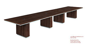 Modern 18 Foot Conference Table In Walnut Or Espresso Silver Trim And Grommets