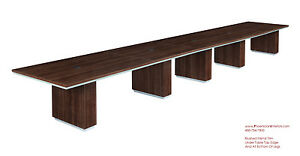 Modern 22 Foot Conference Table In Walnut Or Espresso Silver Trim And Grommets