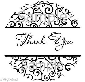 Black Classy Swirl Design Thank You Sticker Labels Optional Sizes