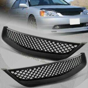 For 2001 2003 Honda Civic Jdm Type R Black Mesh Abs Front Hood Grille Grill