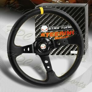 350mm Deep Dish Drift Black Yellow Leather 6 Hole Steering Wheel Universal 2