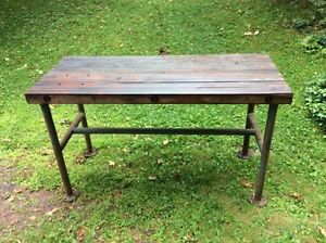 Vintage Butcher Block Industrial Table Island Work Bench