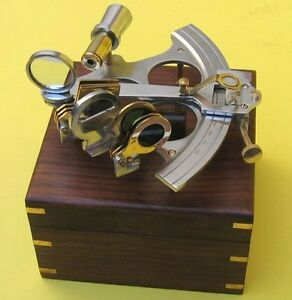 Nautical Navigation Marine 6 Aluminum And Brass Sextant With Wood Box New