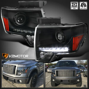 Black 2009 2014 Ford F150 Projector Headlights W Led Daytime Running Lights