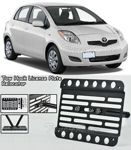 For 07 11 Toyota Yaris Front Bumper Tow Hook License Plate Bracket Relocator