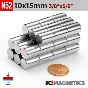 5 10pcs Super Strong 10mm X15mm 3 8 X 5 8 N50 Rare Earth Cylinder Disc Magnet