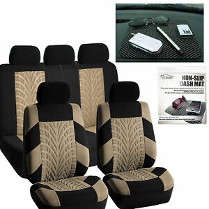 Car Seat Covers Classic Full Set Beige Free Gift Dash Grip Pad