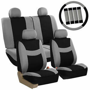 Car Seat Covers Gray Full Set For Auto W Steering Wheel Belt Pad 4head Rest