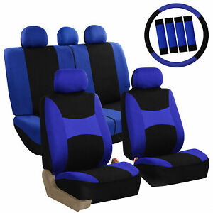 Car Seat Covers For Auto Full Set Blue W Steering Wheel Belt Pad 5head Rest