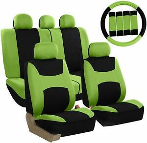 Car Seat Covers Front Rear Full Set For Auto Suv Truck Green 13 Piece Set