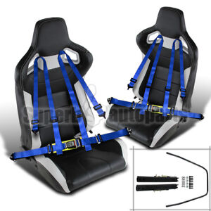 2x Black White Pvc Leather Jdm Reclinable Racing Seats Blue 4 Pt Seat Belts