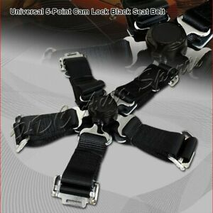 1 X Universal Black Heavy Duty Nylon 5 Point Cam Lock Safety Harness Seat Belt