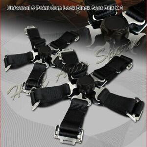 2 X Jdm 5 Point Cam Lock Black Nylon Safety Harness Racing Seat Belt Universal 4