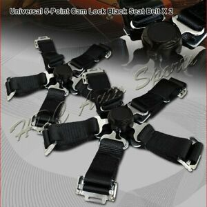 2 X Jdm 5 Point Cam Lock Black Nylon Safety Harness Racing Seat Belt Universal 5