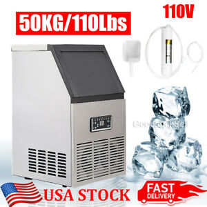 110lbs 50kg Auto Commercial Ice Cube Maker Machine Stainless Steel Bar 110v 230w