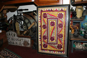 Antique Victorian Needlepoint Sampler Fabric Unusual Shapes Colors Framed 2