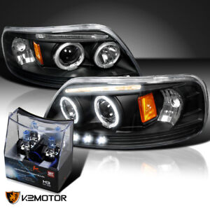 For 1997 2003 Ford F150 Black Led Halo Projector Headlights h3 Halogen Bulbs