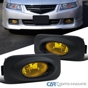 04 05 Acura Tsx Yellow Amber Fog Lights Driving Bumper Lamps Bulbs Switch Pair
