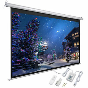 92 16 9 Electric Auto Projector Screen 80x45 Remote Control Theater Projection