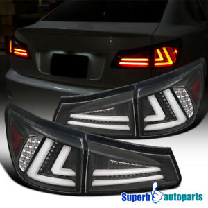 For 06 08 Lexus Is250 Is350 Led Tail Lights Rear Brake Lamps Black Replacement