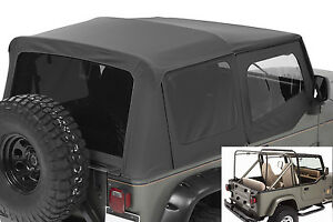 1987 1995 Jeep Wrangler Complete Soft Top Kit Upper Doors Tinted Windows Black