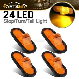 4pc Truck Trailer Amber 24 Led 6 Oval Reflective Turn Signal Light Rubber Mount