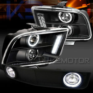 05 09 Mustang Black Halo Led Projector Headlights grille W Fog Lamps