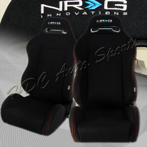 1 Pair Nrg Black Cloth Recline Red Stitching Racing Seats Sliders Universal 4