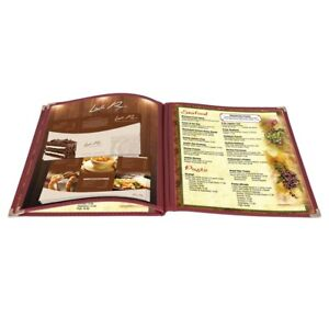 30 Pack 8 5x11 6 View 3 Page Menu Cover Burgundy Trim Trifold Transparent Volume