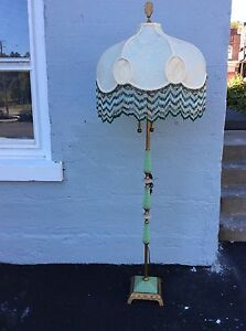 Vintage Art Deco Jadeite Glass Floor Lamp Slag Panel And Beaded Shade