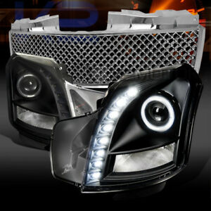 03 07 Cadillac Cts Black Smd Led Projector Headlights chrome Hood Mesh Grille