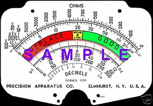 Precision 920 Tube Tester Meter Scale Digitally Remastered