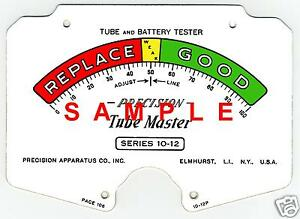 Precision 10 12 Tube Tester Meter Scale Digitally Remastered