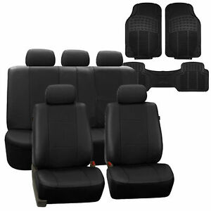 Faux Leather Car Seat Covers For Auto Black W Heavy Duty Floor Mats