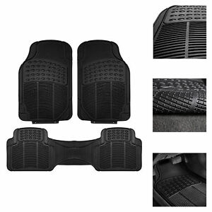 Car Floor Mats All Weather Rubber Tactical Fit Heavy Duty Black 3 Pc Set