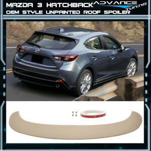 14 16 Mazda 3 Hatchback Oe Style Unpainted Roof Spoiler Abs Extension