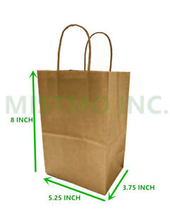 New Brown Small Kraft Paper Bags Shopping Handles Party Gift Bags 5 25x3 75x8